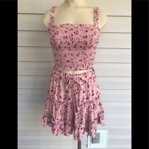 Smocked two piece skirt set